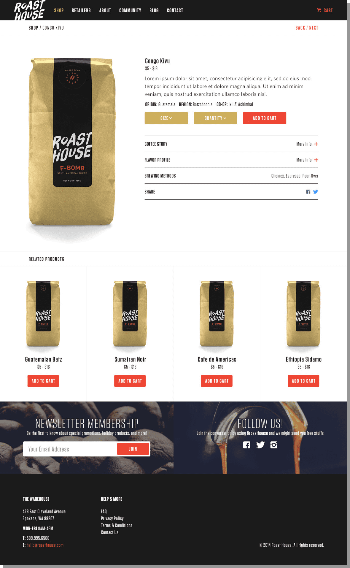 Roast House Coffee Product Screen